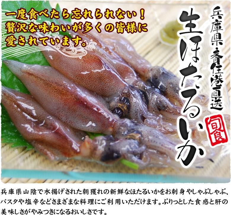 兵庫県・香住港直送 生ほたるいか 一度食べたら忘れられない!贅沢な味わいが多くの皆様に愛されています。