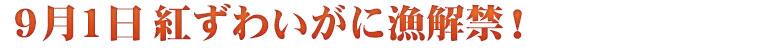 9月1日 香住ガニ(紅ずわいがに)漁 解禁!